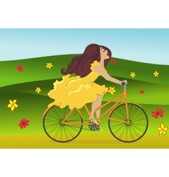 Girl is riding bike on flowering spring field vector
