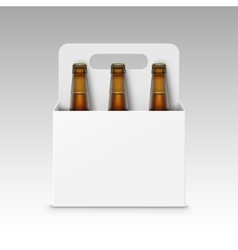 Glass Brown Bottles of Beer with White Packaging vector image