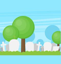 Graveyard flat tombstone icon vector