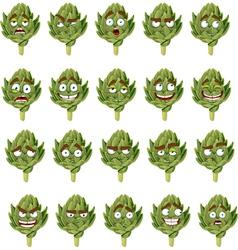 green fresh useful eco friendly artichoke smiles vector image