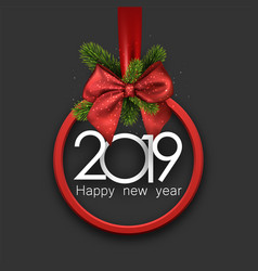grey 2019 happy new year background with red round vector image