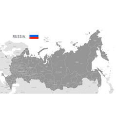 grey political map russia vector image