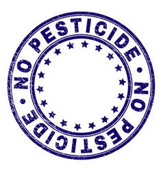 Grunge textured no pesticide round stamp seal vector