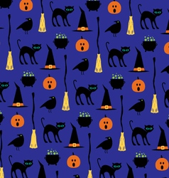 Halloween black cat pattern vector