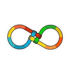 Hands infinity logo vector