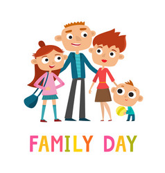 Happy family stand isolated on white - family day vector