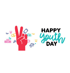 happy youth day web banner peace hand sign vector image