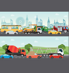 Highways road with many different vehicles vector