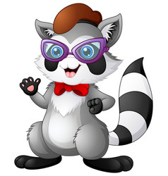hipster raccoon wearing bow tie and glasses vector image