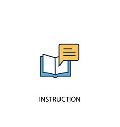 Instruction concept 2 colored line icon simple vector