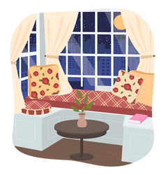 Interior stylish room with couch and pillows vector