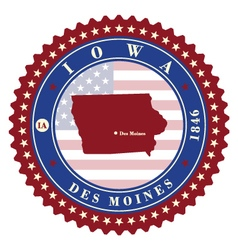 Label sticker cards of State Iowa USA vector