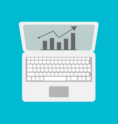 laptop with business or profits growth bar vector image