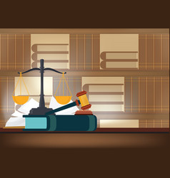 law books with a judges gavel on a table and book vector image