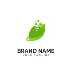 Leaf technology logo vector