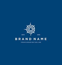 Letter c compass logo design vector