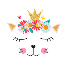 Little cute cat princess with crown and flowers vector