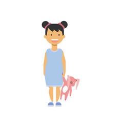 little girl hold toy rabbit happy children full vector image