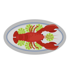 Lobster flat fresh seafood vector