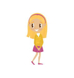 Lovely blonde cartoon girl character in yellow vector