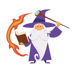 Magic craft wizard with scepter and flame trace vector