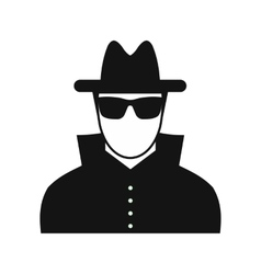 Man in black sunglasses and black hat vector