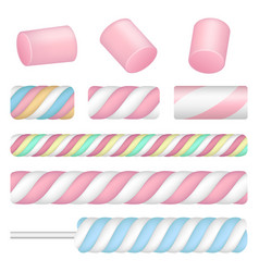 Marshmallow icon set realistic style vector