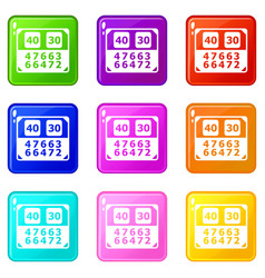 match score board icons set 9 color collection vector image