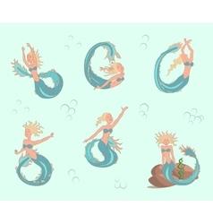 Mermaids set in car vector