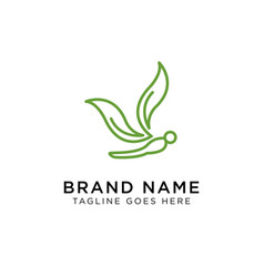 minimalist elegant dragonfly logo design with vector image