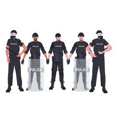 mix race policemen in full tactical gear riot vector image