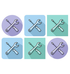 outlined icon screwdriver with spanner vector image