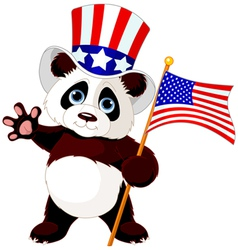Panda Holding American Flag vector image vector image