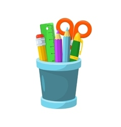 Pencils and stationery in a glass vector image