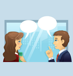 people in office with bubble speech vector image