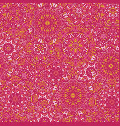 pink boho seamless pattern mandala background vector image