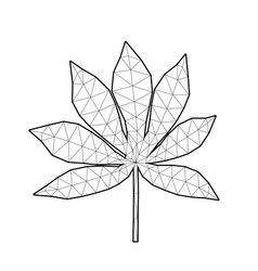 polygonal cassava leaf low poly art vector image