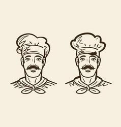 Portrait happy chef cook sketch vintage vector