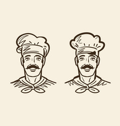 Portrait of happy chef cook sketch vintage vector
