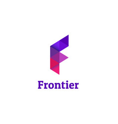 purple geometry letter f logo design vector image