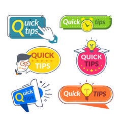 quick tip banners tips and tricks suggestion vector image
