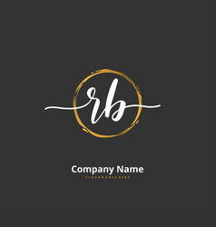 r b rb initial handwriting and signature logo vector image