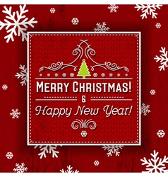 Red background and label with christmas tree vector image