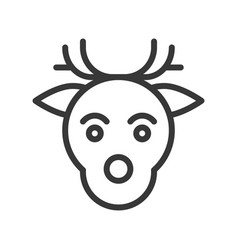 reindeer head merry christmas icon set outline vector image
