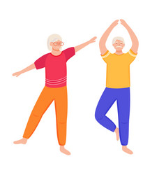 Retired people training flat physical exercise vector