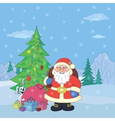 Santa Claus in winter forest vector image