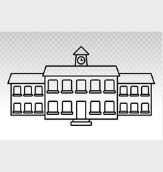 School building line art icon for educational vector