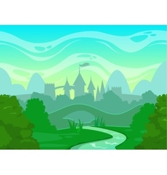 Seamless cartoon fantasy morning landscape vector image