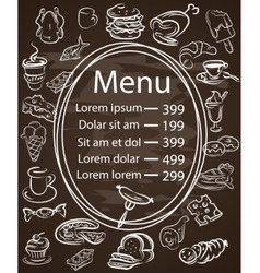seamless food menu written on chalkboard vector image