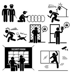 security system stick figure pictograph icon a set vector image
